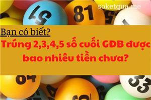 [Giải đáp] Trúng 2 - 3 - 4 - 5 số cuối giải đặc biệt miền Bắc hoặc miền Nam và miền Trung được bao nhiêu tiền?