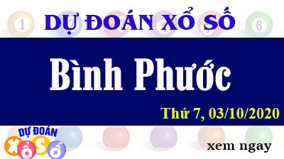 Dự Đoán XSBP 03/10 – Dự Đoán Xổ Số Bình Phước Thứ 7 ngày 03/10/2020