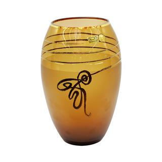 Lọ hoa pha lê 26cm màu vàng