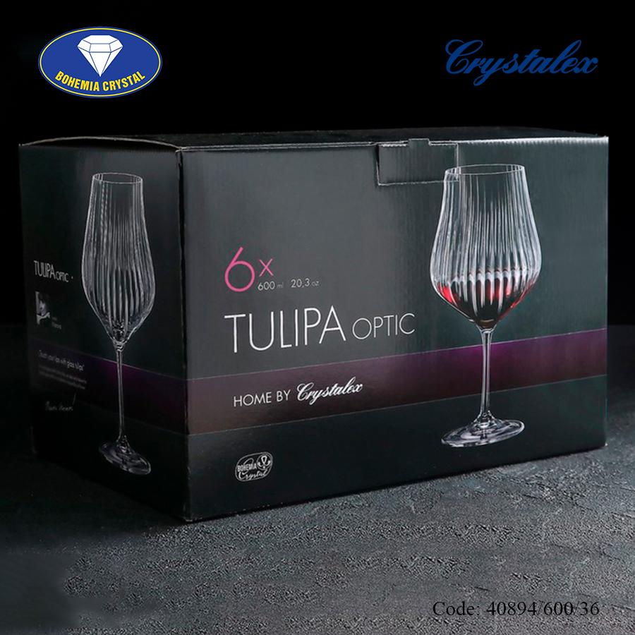 Ảnh minh họa Ly uống rượu vang đỏ Tulipa optic Red Wine 450ml, 600ml
