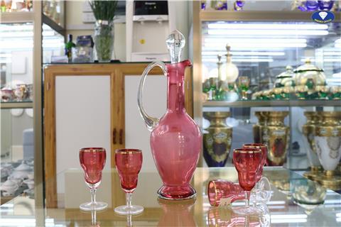 Bộ bình pha lê màu hồng