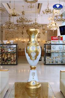 4 bình hoa pha lê mạ vàng đắp nổi hợp với không gian đại sảnh