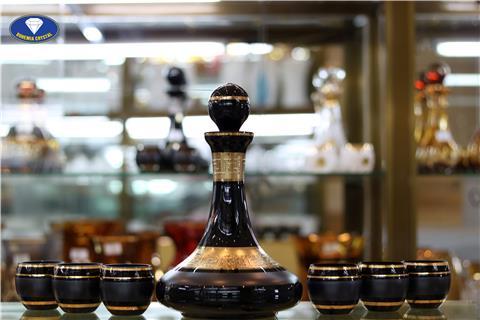 Ly cốc bộ bình pha lê màu đen chì 1250ml
