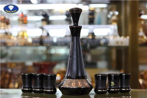 Ly cốc bộ bình pha lê màu đen chì