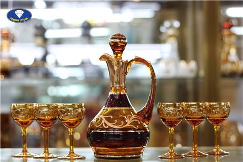 Bộ ly cốc pha lê màu vàng đồng nhập khẩu
