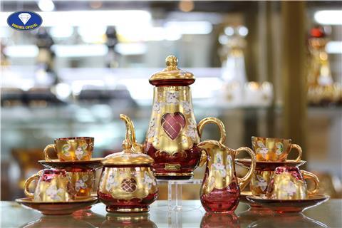 Ly cốc bộ bình pha lê màu đỏ kết hợp vàng đồng