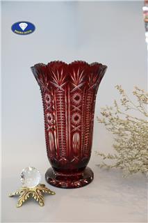 Bình hoa pha lê màu đỏ sang trọng